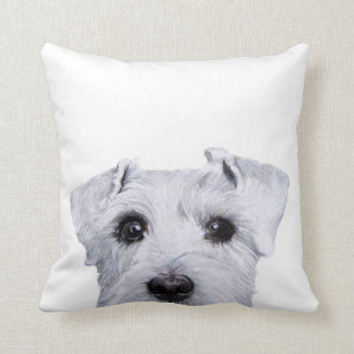 white schnauzer original by miart throw pillow