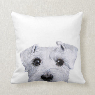 White Schnauzer,  original painting and design Throw Pillow