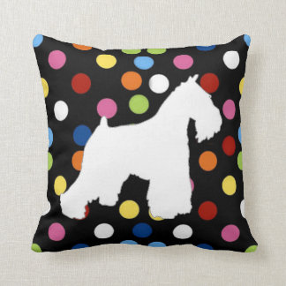 White Schnauzer Polka Dot Pillow