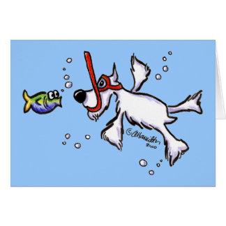 White Schnauzer Snorkeling Under Blue Sea Greeting Card