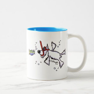 White Schnauzer Snorkeling Under Blue Sea Two-Tone Coffee Mug