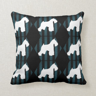 White Schnauzer Stripes Pillow