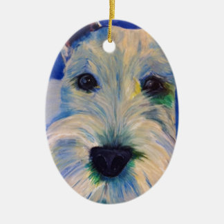 White Schnauzer's RULE ! Ceramic Ornament