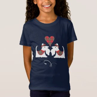 White Scotch Terrier Dogs  In Tartan Dog Lovers T-Shirt