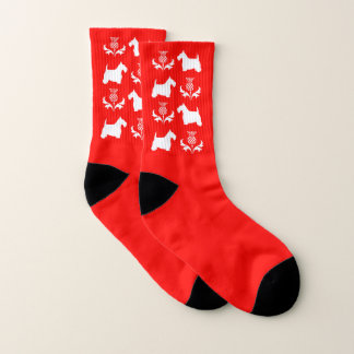 White Scottie and Thistle Your Background Color Socks