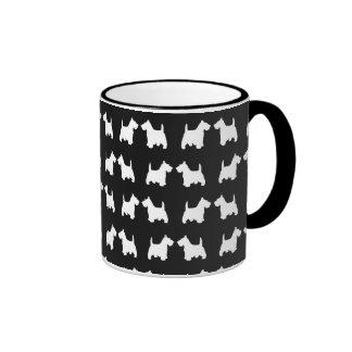 White Scottie Dog Twin Silhouettes Tile Pattern Mug