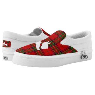 White Scottie on Stewart Plaid Slip-On Sneakers