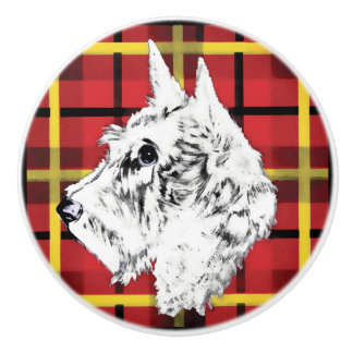 White Scottish Terrier Scotty dog ceramic knob