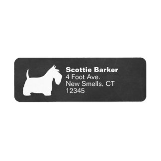 White Scottish Terrier Silhouette Return Address Label