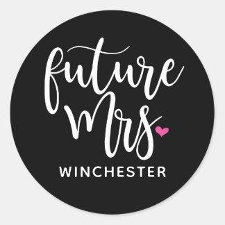 White Script Future Mrs. (name) Classic Round Sticker