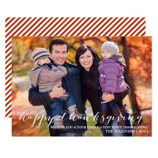 White Script Happy Thanksgiving Photo Card