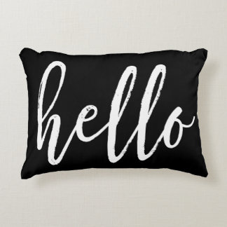 """White Script """"Hello"""" Accent Pillow"""