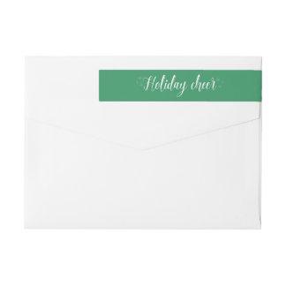 White Script Holiday Cheer Address Labels Wraparound Return Address Label