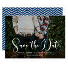 White Script Navy Chevron Photo Save the Date Card