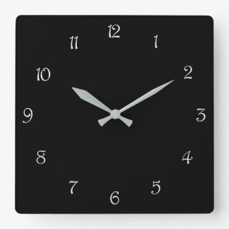 White Script Numbers On Black Wall Clock