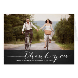 White Script Rustic Wedding Thank You Card