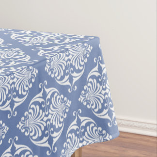 White Scrolls on Blue Grey Tablecloth
