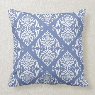 White Scrolls on Blue Grey Throw Pillow