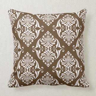 White Scrolls on Chocolate Brown Throw Pillow