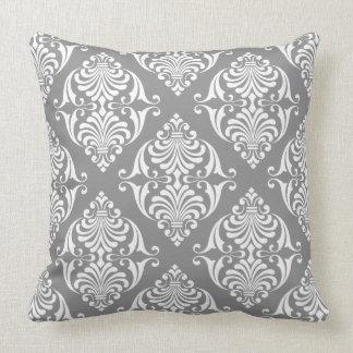 White Scrolls on Dove Grey Throw Pillow