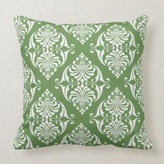 White Scrolls on Moss Green Throw Pillow