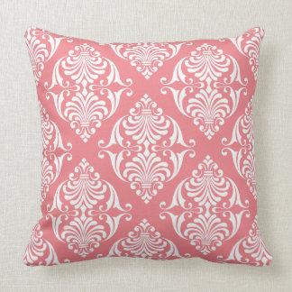 White Scrolls on Soft Salmon Pink Throw Pillow