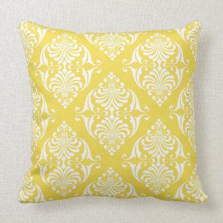 White Scrolls on Warm Sun Yellow Throw Pillow