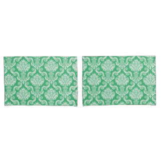 White & Sea Green Damask Pattern{pick your color} Pillowcase