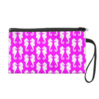 White Sea Horses on Pink Wristlet