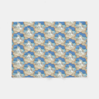 White Sea Shell on Sand Fleece Blanket