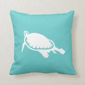 white Sea turtle on teal blue pillow