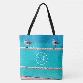 White seagull beach birds photo custom monogram tote bag