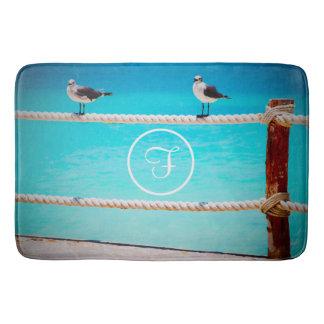 White seagull birds at ocean photo custom monogram bath mat