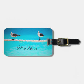 White seagull birds by ocean photo custom name luggage tag