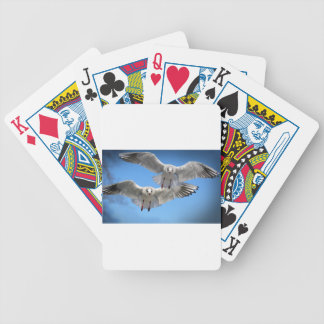 White Seagulls In Flight Bicycle Playing Cards