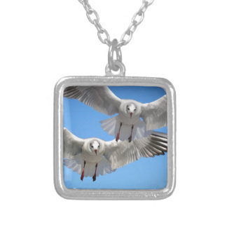 White Seagulls In Flight Silver Plated Necklace