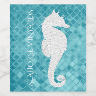 White Seahorse Aqua Sea Glass Personalize Wine Label