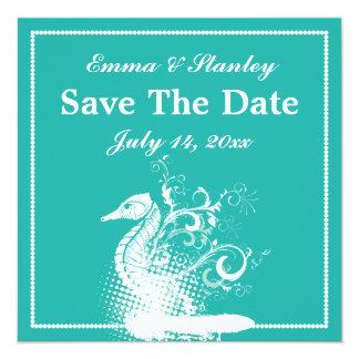 White seahorse blue green summer wedding card