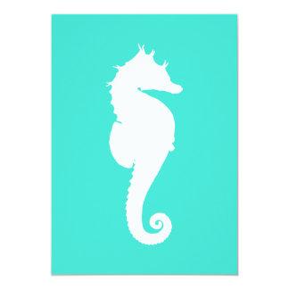 White Seahorse on Turquoise Card