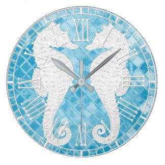 White Seahorses Blue Sea Glass Wallclock