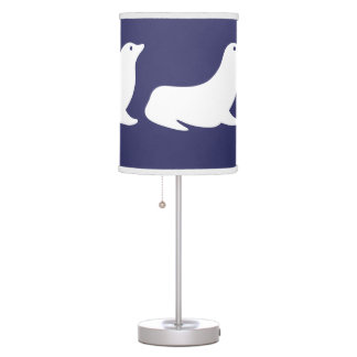 White Seal on blue background Table Lamps