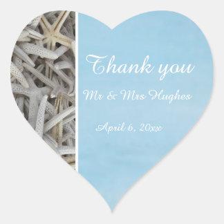 White seashell beach wedding thank you heart sticker