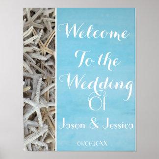 White seashell beach wedding welcome poster