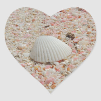 White seashell on Pink Sand Beach Heart Sticker