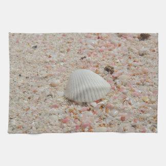 White seashell on Pink Sand Beach Kitchen Towel