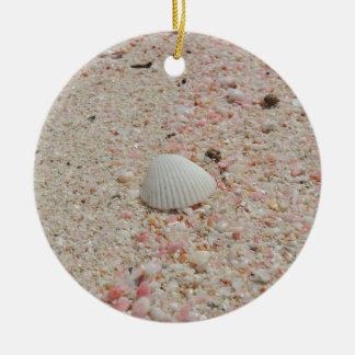 White seashell on Pink Sand Beach Round Ceramic Ornament