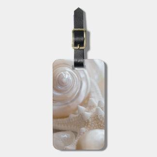 White Seashells Starfish Tropical Beach Sea Shells Bag Tag
