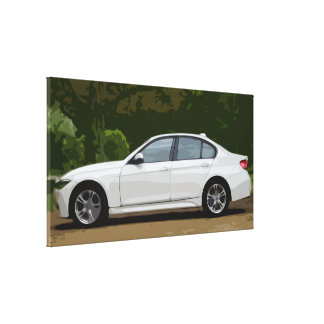 White Sedan Fast Car with Forest Background Canvas