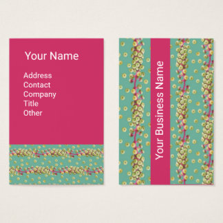 WHITE SEEDS IN GREEN Cherry Red Business Card
