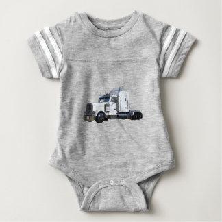 White Semi Tractor Trailer Baby Bodysuit